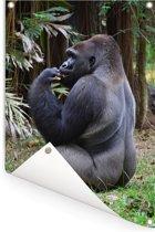 Zijaanzicht van een etende Gorilla Tuinposter 80x120 cm - Tuindoek / Buitencanvas / Schilderijen voor buiten (tuin decoratie)