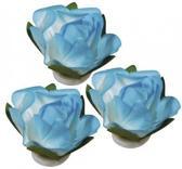 Papieren deco bloemen turquoise 1,5 cm
