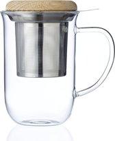 Viva Scandinavia Minima Balans Theeglas - Incl. Filter - Houten Deksel - 550 ml - Transparant