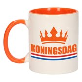 1x Koningsdag beker / mok - oranje met wit - 300 ml keramiek - oranje bekers
