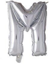 letterballon - 41 cm - zilver - M