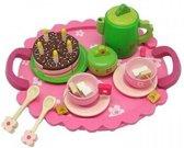 Playwood - Houten serviesje met taart en bloemetjesmotief servies
