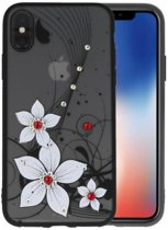 Diamant Narcis Hoesjes Cases voor iPhone X Wit