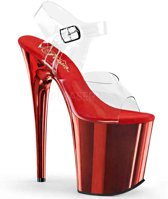 EU 41,5 = US 11 | FLAMINGO-808 | 8 Heel, 4 PF Ankle Strap Sandal w/Chrome Plated Bottom