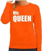 His queen sweater / trui oranje met witte letters voor dames - Koningsdag - fun tekst truien / Hollandse sweaters 2XL