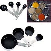 Complete 8-Delige Maatbeker & Maatlepel Set - Meetlepels Maatcups - Measuring Cups Spoons - Maatschepjes & Bekers - Plastic/RVS - Grammen & ML Afwegen - Zwart