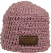 Poederbaas muts roze met fleece aan binnenzijde, wintersport muts voor dames, dames skimuts