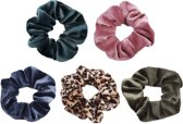 Scrunchie 5 stuks Velvet Extra Vol en Luxe - haarelastiek haarwokkel scrunchies - groenblauw - roze - blauwgrijs - panterprint bruintinten - groen - Kraagjeskopen.nl
