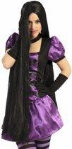 Halloween - Zwarte damespruik met mega lang haar 100 cm