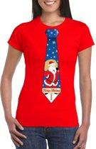 Foute Kerst t-shirt stropdas met kerstman print rood voor dames M
