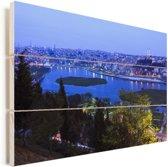 Schitterend blauw water voor Istanbul Vurenhout met planken 90x60 cm - Foto print op Hout (Wanddecoratie)