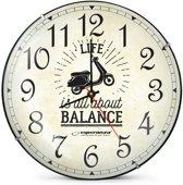 Esperanza Seattle | Wandklok ø30cm | Life is All about Balance | Quartz Uurwerk | Scooter Brommer Motor