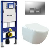 Geberit UP 100 toiletset - Inbouw WC Wandcloset - Creavit Mat Wit Geberit Delta-50 Mat Chroom