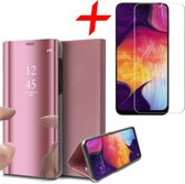 iCall - Samsung Galaxy A50 Hoesje + Screenprotector Case-Friendly - Spiegel Lederen Book Case met Tempered Glass Gehard Glas - Roségoud