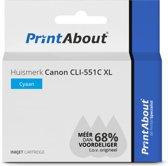 Huismerk Canon CLI-551C XL Inktcartridge Cyaan Hoge capaciteit