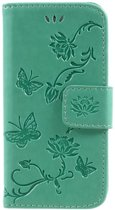 Book Case Hoesje Bloemen iPhone 5 / 5S / SE - Cyan