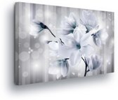 Flowers Grey Canvas Print 60cm x 40cm