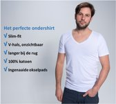 No Sweat - Ondershirt met ingenaaide okselpads tegen okselzweet - slim fit - V hals - voldoende lengte bij de rug - EXTRA LARGE