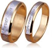 Verlovingsring twee tonen band ring met forever love tekst