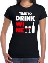 Time to drink Wine tekst t-shirt zwart dames 2XL