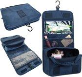 Toilettas Blauw – Ophangbaar met Haak – Reis Travel Etui – Make Up Bag – Organizer voor Toiletartikelen – Blauw