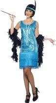 Charleston jurkje, blauw   Dameskostuum maat S (36-38)
