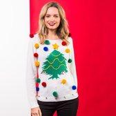 Witte kerst trui 3D kerstboom voor dames XS (34)