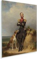 Portret van Willem II - Schilderij van Jan Adam Kruseman Plexiglas 60x80 cm - Foto print op Glas (Plexiglas wanddecoratie)