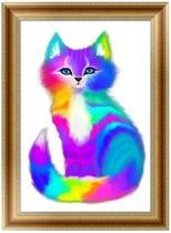 Diamond Painting - Gekleurde Kat - 40x30cm - Diamond Painting Compleet Pakket - Diamond Paint - Diamant Painting - Volwassenen