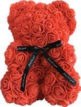 Rozen Beer Teddy - het cadeau bij liefde, verjaardag, Valentijn – Rozenbeer Rood – 25 cm