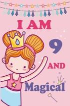 I'm 9 and Magical: A Fairy Birthday Journal on a Pink Background Birthday Gift for a 9 Year Old Girl (6x9'' 100 Wide Lined & Blank Pages N