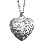 """""""Lange ketting hart hanger zilver """"""""moeder, dochter voor altijd"""""""""""""""