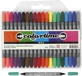 Colortime dubbelstift, lijndikte: 2,3+3,6 mm, 20 stuks, standaardkleuren