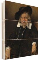 Portret van een oude man - Schilderij van Rembrandt van Rijn Vurenhout met planken 30x40 cm - klein - Foto print op Hout (Wanddecoratie)