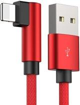 Buig oplader USB voor iPhone Xs, Xr, X, 8, 8-Plus, 7, 7-Plus, 6s, 6, 6-Plus, 5c, 5, 5s – 90 Graden oplaadkabel – Rood