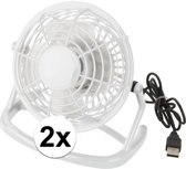 2x Mini ventilator wit - USB aansluiting - tafelventilator