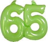 65 Jaar Opblaascijfer Transparant Groen