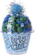 Free And Easy Kralenset Cupcake Blauw 12 Cm