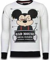 Local Fanatic Bad Mouse - Rhinestone Sweater - Wit - Maten: M
