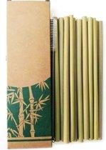 Duurzame bamboe rietjes, herbruikbaar  - 10 stuks + schoonmaakborsteltje