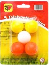 Tafelvoetbalballetjes 5 stuks gekleurd