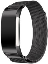 Milanees Horloge Band Voor de Fitbit Charge 2 - Milanese Watchband - Armband RVS -  Small/Large Zwart