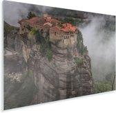 De Meteora kloosters tussen de wolken Plexiglas 90x60 cm - Foto print op Glas (Plexiglas wanddecoratie)
