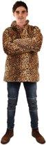 Panterprint bontjas heren luipaardprint cheetah - fake fur jas nepbont bruin pluche Burning Man
