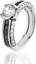 Montebello Ring Claire - Dames - Zilver Gerhodineerd - Zirkonia - Maat 54 - 17.2 mm