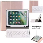 Ntech Rose Goud Magnetically Detachable / Wireless Bluetooth Keyboard hoes met Stylushouder voor iPad Air 1-2/ iPad Pro 9.7/ iPad 9.7 (2017-2018)