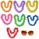 Hawaii gekleurde bloemenkransen met bril pakket 7 personen