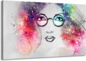 Schilderij | Canvas Schilderij Vrouw | Grijs, Roze | 140x90cm 1Luik | Foto print op Canvas
