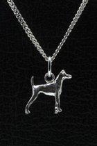 Zilveren Japanse terrier ketting hanger - klein