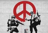 Fotobehang Banksy Graffiti | XXL - 312cm x 219cm | 130g/m2 Vlies